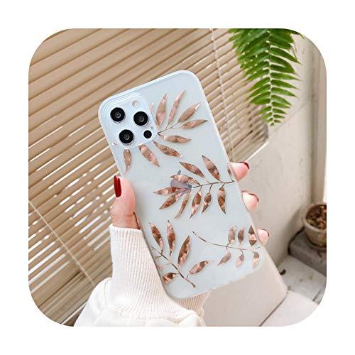 Funda de teléfono para iPhone 11 12 Mini Pro X XR XS Max 8 7 Plus SE 2020 moda galvanizada hojas brillantes transparente suave IMD cubierta trasera T5-para iPhone X