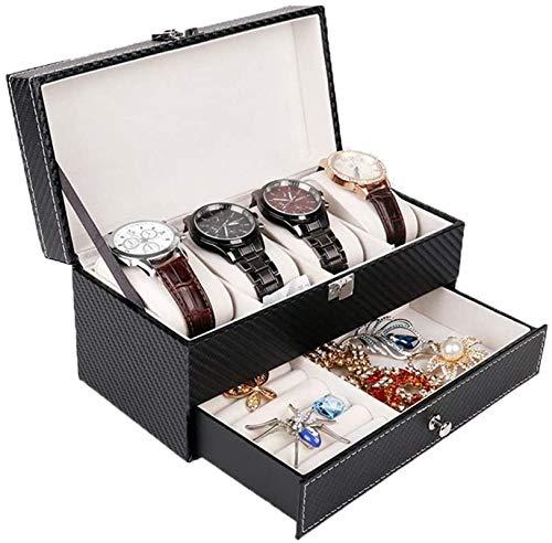 Multifunctional Reloj de almacenamiento Caja de almacenamiento Reloj Mostrar Organizador Organizador Caja PU Cuero Doble Capa Joyería Caja de Joyería Localizable Mostrar Caja de almacenamiento para 4