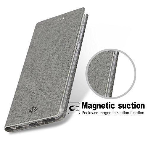 Feitenn Honor View 10 Hülle, dünne Premium PU Leder Flip Handy Schutzhülle | TPU-Stoßstange, Magnetverschluss, Kartenschlitz und Standfunktion Brieftasche Etui (Grau) - 4