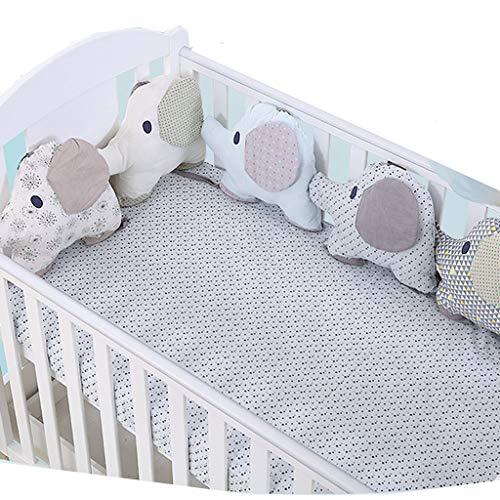 bettumrandung kinderbett,Kreative Baby Cotton Cot Liner Bumper, entzückende Elefant Form Polka Dot Star Kinderbett Bett Stoßstange für Kleinkinder - 6 Stück