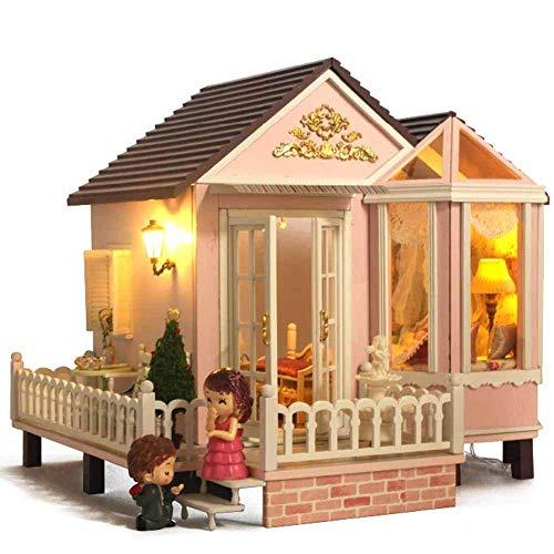 H-O Rompecabezas 3D Casa de muñecas en Miniatura de Madera Kit de Bricolaje - Accesorios para Casas de muñecas Casas de muñecas con Muebles y luz LED y Caja música Mujeres y niñas