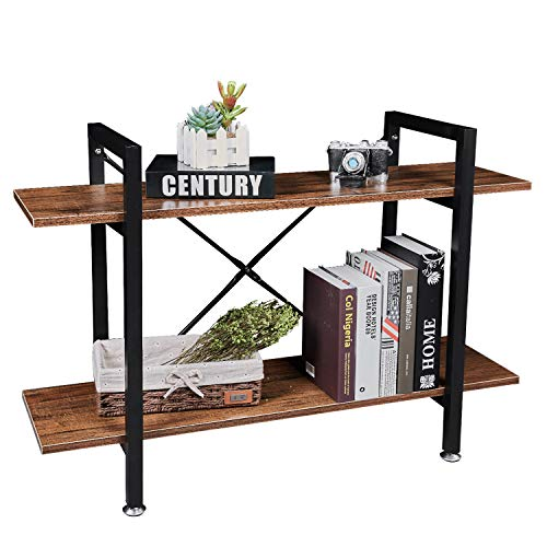 NXN-HOME 2-Tier Industrial Bookcases,Vintage Rustic Bookshelf with Black Metal Frame and Multifunctional Antique Wood Look for Living Room, Bedroom, Kitchen and Balcony(Retro Brown)