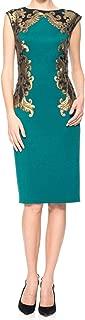 Women's Neoprene Paillette Embroidered Sheath Dress, Emerald/Black, Medium