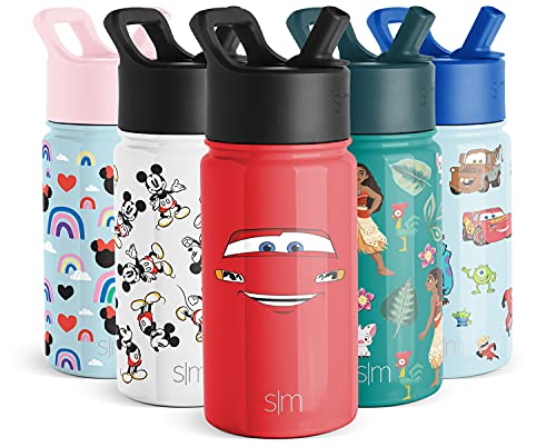 Simple Modern 14oz Disney Summit Kids Water Bottle Thermos with Straw Lid - Dishwasher Safe Vacuum Insulated Double Wall Tumbler Travel Cup 18/8 Stainless Steel -Cars: Ka-chow