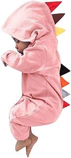 かわいい 恐竜 ロンパース ベビー服 女の子 赤ちゃん服 幼児 子供服 男の子 フード付き 長袖 LKD-03fba