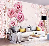 Wkxzz 壁の背景装飾画 カスタム壁紙3Dステレオロマンチックなローズパールジュエリー背景壁画リビングルームの結婚式の家の壁紙の壁-250X175Cm
