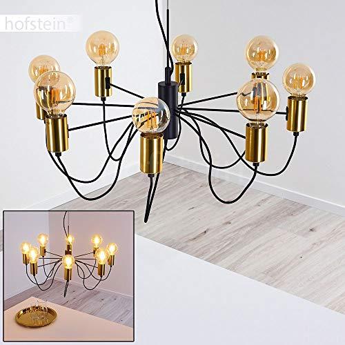 Hanglamp Gnarp van metaal in zwart/goud, moderne kroonluchter 8-vlam, 8 x E27 max. 60 Watt, Ø 70 cm, in hoogte verstelbare hanglamp in vintage/retro uitvoering met textielkabels, LED geschikt