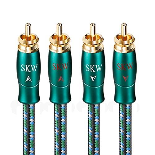 SKW-Audiophiles Cinch Audio Kabel-2 x Cinch zu 2 x Cinch Kabel Audiophile Cinch-Kabel (2M, Grün)