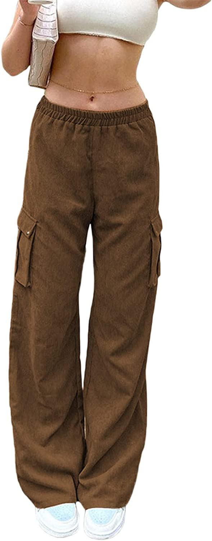 Suolongsama Women Casual Corduroy Pants Elastic Waist Cargo Pants Solid Color Straight-Leg Trousers Streetwear