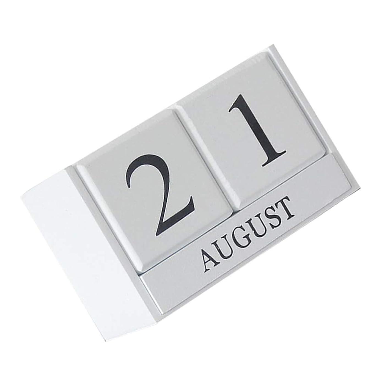 感染するマイクロフォン更新するF Fityle デスクトップ ブロック 木製 カレンダー 実用的 カレンダー 全2色    - 白