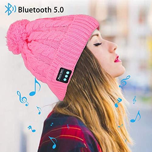 Miserwe Bluetooth Beanie Mütze Kabellose 5.0 Bluetooth Mütze mit Freisprech Kopfhörer Mikrofon Lautsprecher Kopfhörer Mütze Männer Frauen Geschenke Winter Outdoor Sport Mütze für iPhone Android,Rosa