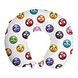 ABAKUHAUS Emoticon Cojín de Viaje para Soporte de Cuello, Diferentes Caras de la Historieta, Cómoda y Práctica Funda Removible Lavable, 30 cm x 30 cm, Multicolor