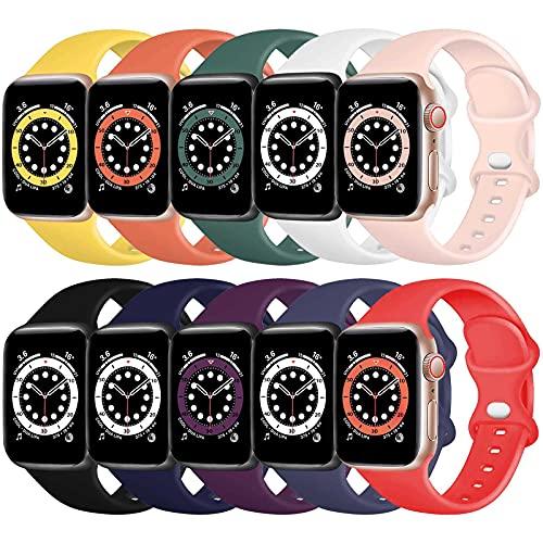 TopPerfekt Correa de Silicona Compatible con Apple Watch Correa de 38 mm 40 mm, Correas de Repuesto de Silicona para iWatch Series 6 5 4 3 2 1 SE (42/44mm-S/M, Paquete de 10)