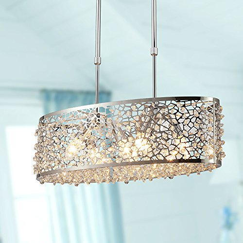 Saint Mossi Modern K9 Crystal Oval Chandelier Lighting Flush...