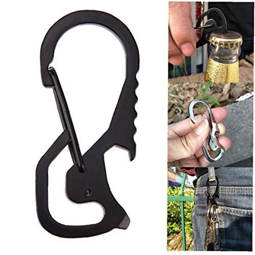 1pc Carabiner en acier inoxydable Trousseau Multitool robuste et léger Caribeaner bouteille Clip Ouvre Portable Edc Tool (Noir)