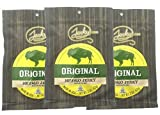 Jerky.com s Original Buffalo Jerky - Bulk 3 Pack - Best Wild Game Bison Jerky, 15g of Protein, All-Natural Keto Diet Snack, No Added Preservatives, 5.25 oz Total
