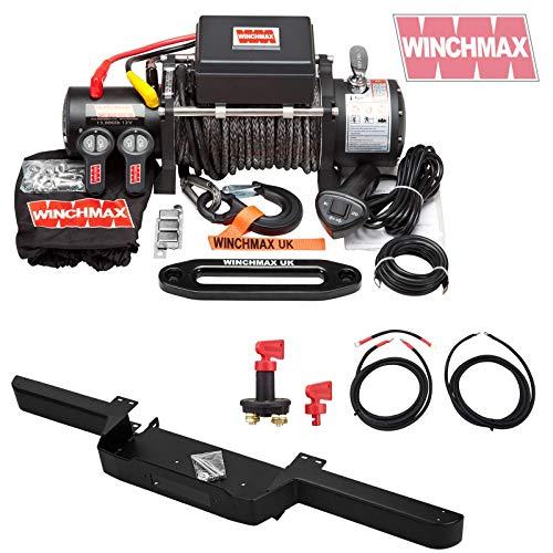 Winchmax Cabrestante militar de 12 V, defensa del cabrestante, cuerda Dyneema, kit de cableado y aislador.