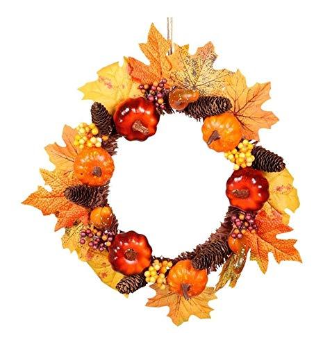 ZBM-ZBM Voordeur Krans Kerstmis Krans Halloween Pompoen Pine Kegels Herfst Esdoorn Bladeren Thanksgiving Supplies feeënlichten
