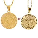 Congchuaty Anniyo Gold Color Allah Pendant Necklace Chain for Men Middle East Arab Jewelry,for Friend Gift