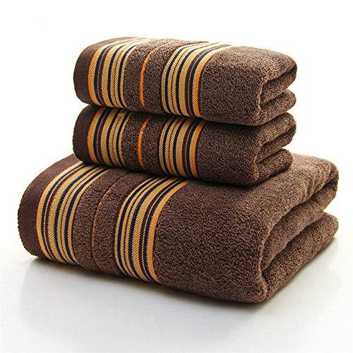 YHWW Toalla de baño,Juego de Toallas de algodón Suave con patrón de Rayas más Gruesas de 3 Piezas, Toalla de baño súper Absorbente, Azul, Gris, marrón, marrón