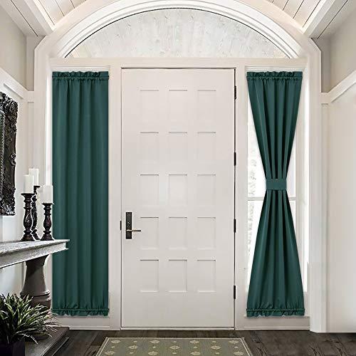 PONY DANCE Front Door Curtains - Window Treatments Solid Energy Efficient Rod Pocket French Patio Door Panel with Tiebacks, 25 x 72 in, Hunter Green, 2 Pieces