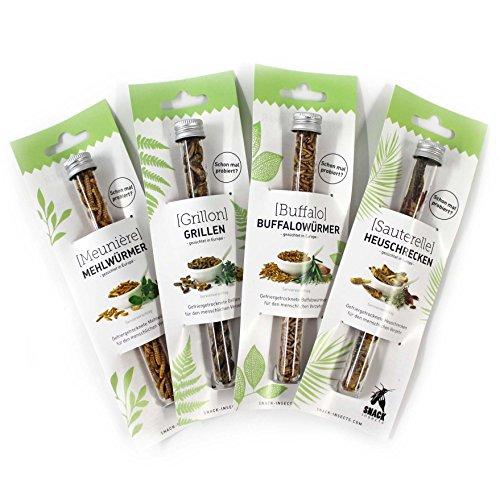 SNACK insects Probier-Set: Mehlwürmer, Grillen, Buffalowürmer & Heuschrecken - Essbare Insekten zum Kochen & Essen