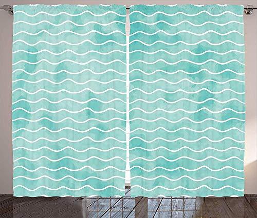 zpangg Motif de Vagues de Couleurs océan Pastel Doux mer Vibes d'été inspiré Graphique Rideaux d'occultation Bloc Lumière du Soleil Abat-Jour Isolant Rideau