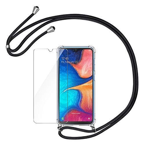 AROYI Handykette Handyhülle + Panzerglas Schutzfolie für Samsung Galaxy A20e Hülle mit Kordel zum Umhängen Necklace Hülle mit Band Schutzhülle Transparent Silikon Acryl Hülle für Samsung Galaxy A20e