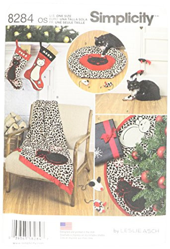 Simplicity 8284 Christmas Tree Skirt, Cat Bed and Toys, Christmas Stocking Sewing Pattern, 6 Pieces