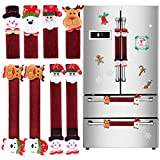 Elcoho 8 Set Refrigerator Door Handle Covers Santa Snowman Kitchen Appliance Covers with Christmas Flash Sticker Refrigerator Handle Covers Set for Christmas Decorations