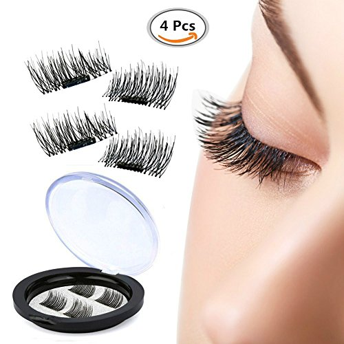 False MAGNETIC Eyelashes Foruchoice 1 Pair 4 Pieces 0.2mm Ultra Thin Fake Mink Eyelashes for Natural Look Reusable Best Fake Lashes