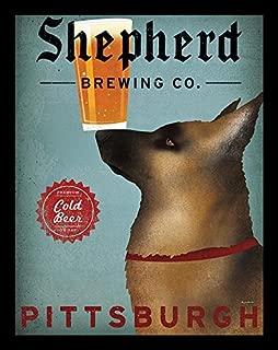 Buyartforless Framed Shepherd Brewing Co Pittsburgh by Ryan Fowler 14x11 German Shepherd Beer Signs Dogs Animals Art Print Poster Vintage Advertising Sign Loyal Guard Dogs
