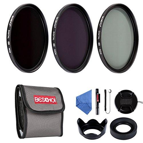 Beschoi 58 MM ND Filtro Kit, 58MM ND2 ND4 ND8 Filtro a Densità Neutra 10Pcs Lens Filter Kit Accessori per DSLR Camera