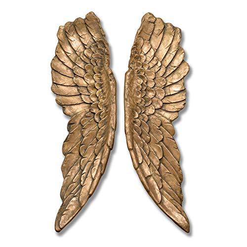 IHL Alas de ángel de oro envejecido, tamaño grande, decorativas y elegantes, para colgar en la pared, 104 cm