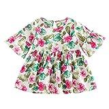 Julhold Kleinkind Kinder Baby Mädchen Kleid Mode Blumendruck Schlagärmel Prinzessin Casual Baumwollkleid Outfits 0-4 Jahre