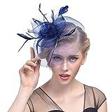 Yujeet Sombreros Y Tocados De La Manera De Las Mujeres Elegante Forma De La Flor De La Pluma De La Novia Headwear Para El Cóctel Party De La Boda Azul Marino One Size