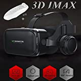 "TSANGLIGHT VR Headset/Glasses with Remote Controller & Headphones[Built-in], Virtual Reality Headset 3D IMAX Movie Game Visor for Galaxy S8 S7 iPhone X 8 7 Plus &Other 4.7-6.0"" Android/iOS Smartphone"