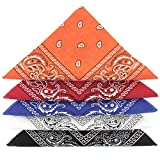KARL LOVEN Lotto di 5 bandane 100% Cotone Paisley Sciarpa Testa Collo Fazzoletti (Lotto di 5, Blu Bianco Rosso Nero Arancione)