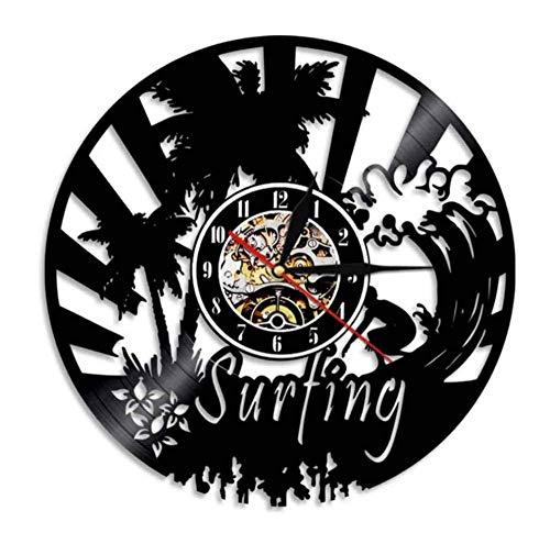 hxjie Surf Beach Landscape Vinilo LP Reloj de Pared Deportes acuáticos Luz para surfistas Regalo Inicio 30cm