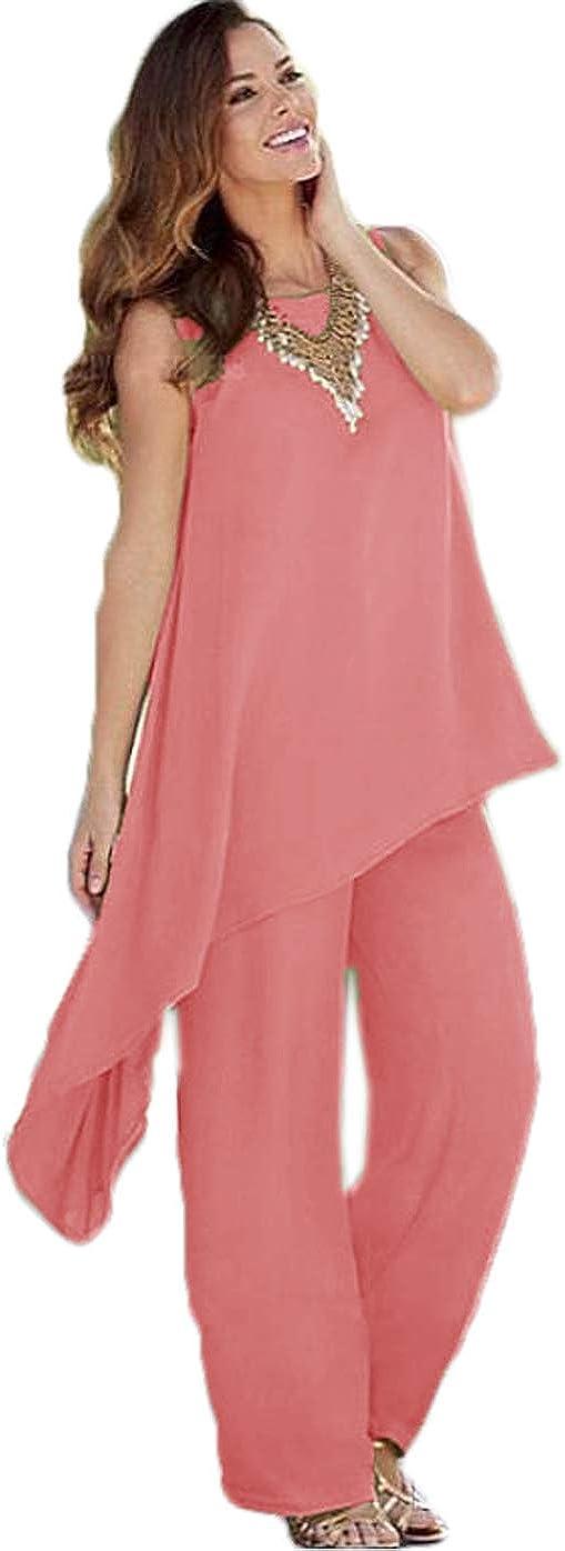 HYC 2 Pieces Mother of The Bride Pant Suits Chiffon Wedding Guest Dress Asymmetric Plus Size Formal Dresses