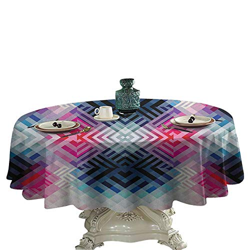 Abstract Soft Tablecloths for Circular Table Fractal Lines with Diagonal Geometric Angled Repeating Pattern Artistic Display Fabric Tablecloths for Round Table 36 inch