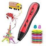Meterk Penna 3D, 3D Penna Stampa Intelligente Compatibile con PLA/ABS con Schermo LCD, velocità e Temperatura Regolabili, con 15 Colori di Filamento PLA, per l'artigianato per Adulti e Bambini