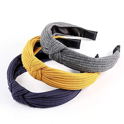 Women Wide Headbands 3 Pack Headbands for Women Fashion Knot Turban Headband Elastic Hair Band Hair Accessories for Women and Girls