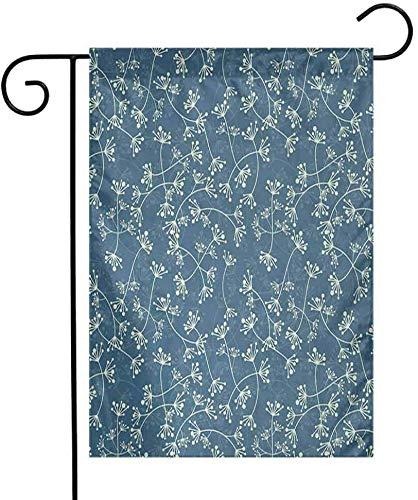 Eastlif Drapeau de Jardin Floral Nature Élégance en Vedette Twiggy Plantes Pétales Printemps Design De Mode Vert Clair Ardoise Bleu