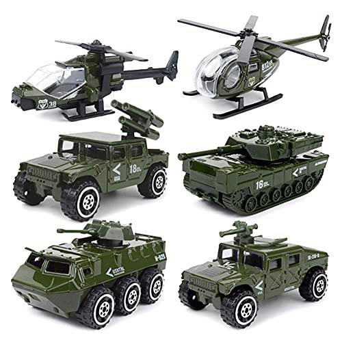 Joycabin Modelo de coche de juguete, juego de 6 piezas, diseño militar, de aleación, apto para niños y niñas, regalo de cumpleaños