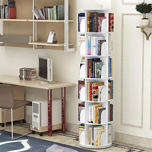 JX&BOOS Bookshelf,Angolo semplice tabella studente atterrato di libreria girevole 360 ° bookrack moderno semplice mensola bambini creativi-E 46x46x188cm(18x18x74)