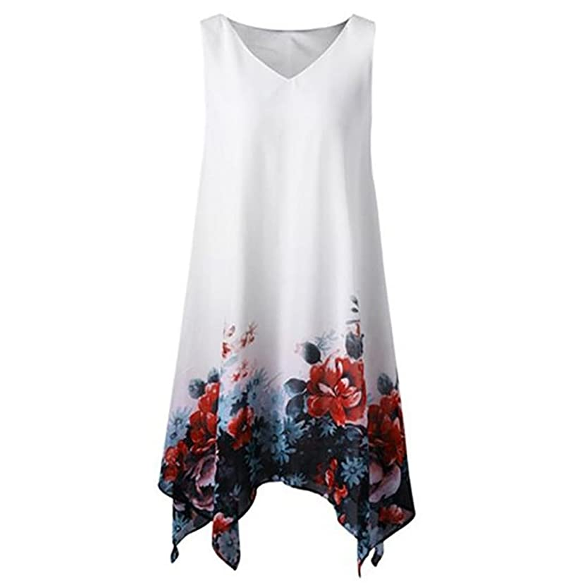 FEITONG Women Sleeveless Knee Length Summer Dresses Plus Size V Neck Floral Handkerchief Chiffon Dress