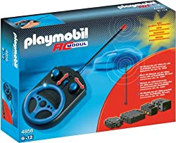 Can be used with all RC-compatible Playmobil vehicles Comes with sections that fit underneath the vehicle to power the wheels Handheld controller with forward/backward and directional controls RC Module has a longer range so it can be used over longe...