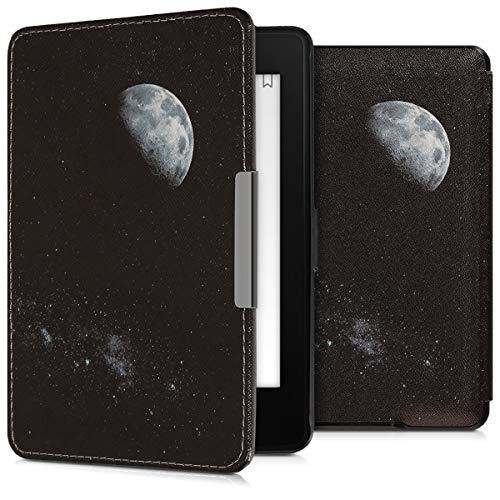 kwmobile Hülle kompatibel mit Amazon Kindle Paperwhite - Kunstleder eReader Schutzhülle (für Modelle bis 2017) - Mond Hellgrau Schwarz