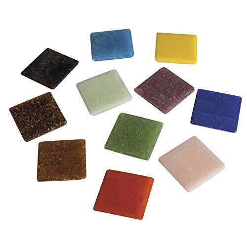 Rayher 1453149 Teselas para mosaicos Artdecor en Colores Variados y cuadradas, Envase de 1 kg, Aprox. 325 Piezas, Multicolor, 2 x 2 cm
